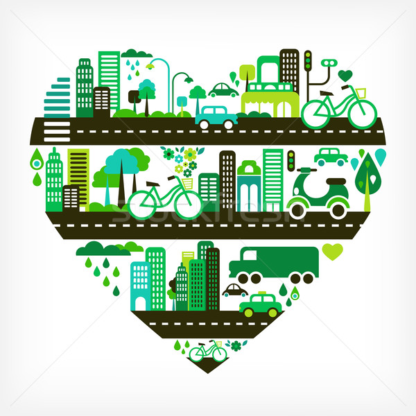 heart shape with green city Stock photo © marish