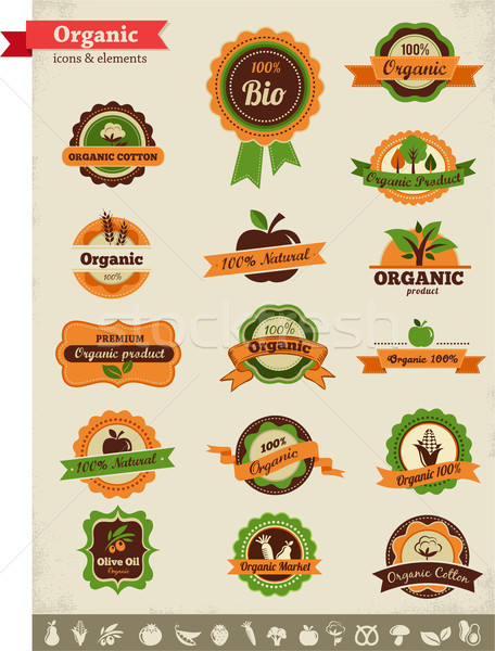 Stock photo: Organic food labels, tags and graphic elements