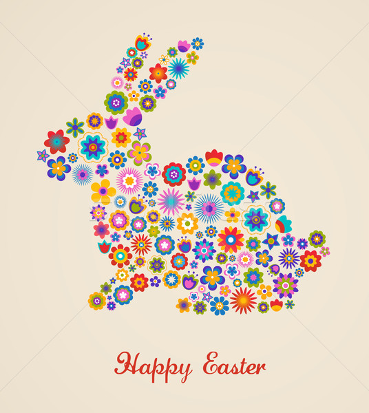 Easter greeting card with bunny and flowered pattern Stock photo © marish