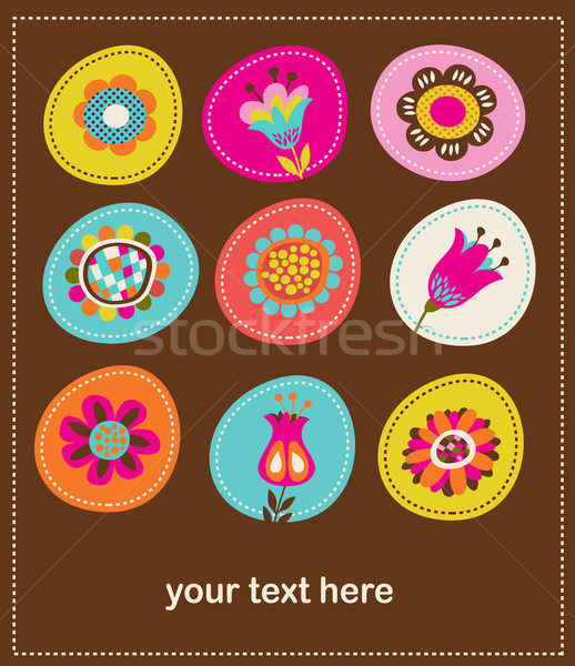 collection of cute decorative flowers, greeting card Stock photo © marish
