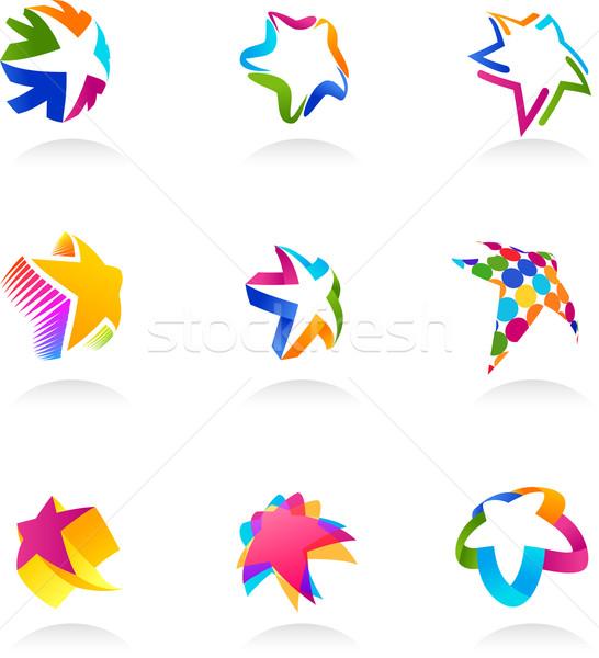 Collectie star iconen vector ingesteld abstract Stockfoto © marish
