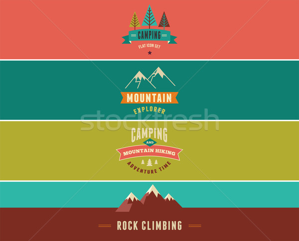 Hiking, camp banners, backgrounds and elements Stock photo © marish
