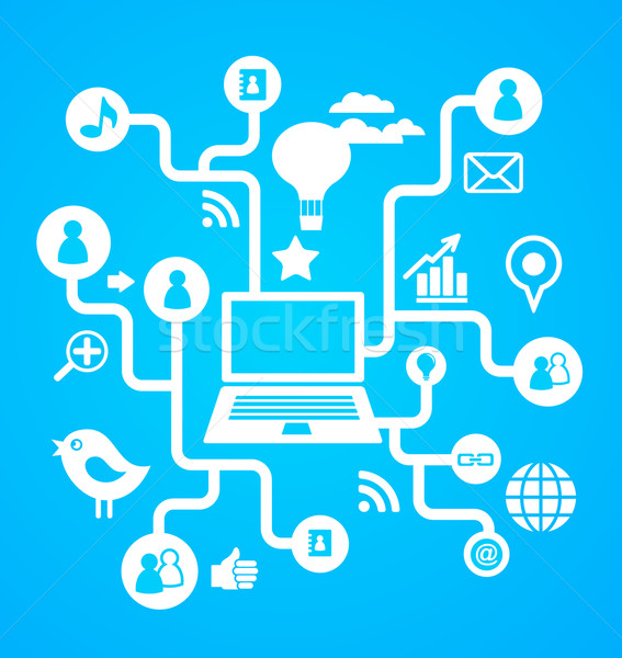 Social network background with media icons Stock photo © marish