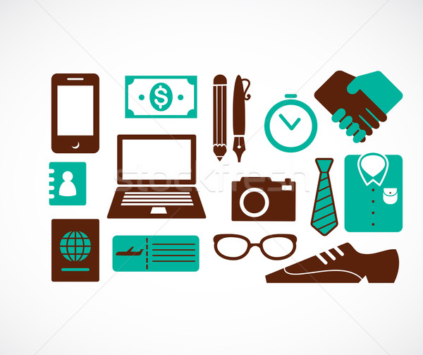 collection of business travel icons Stock photo © marish
