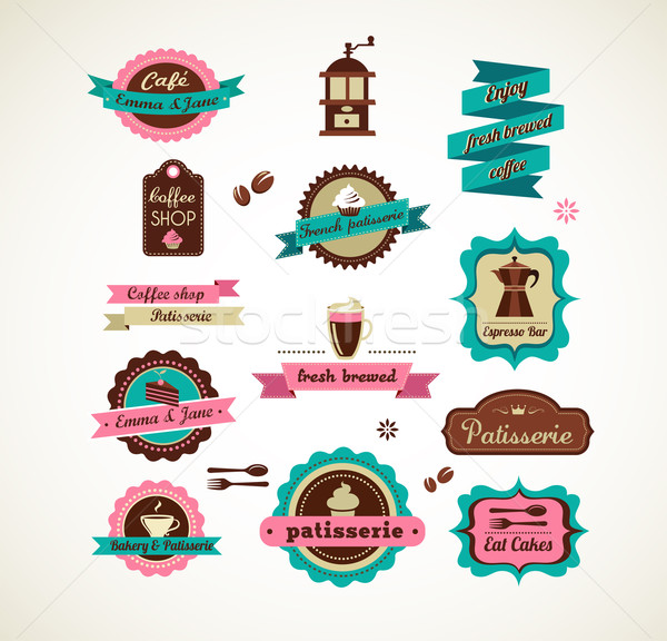 Espresso bar vinatge poster with makineta Stock photo © marish