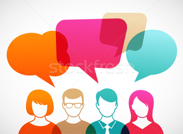 people with speech bubbles Stock photo © marish