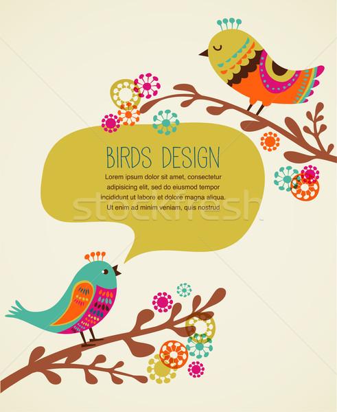 Kleurrijk cute decoratief vogels wenskaart achtergrond Stockfoto © marish