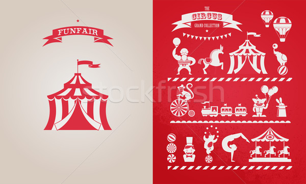 Vintage cartaz carnaval diversão feira circo Foto stock © marish