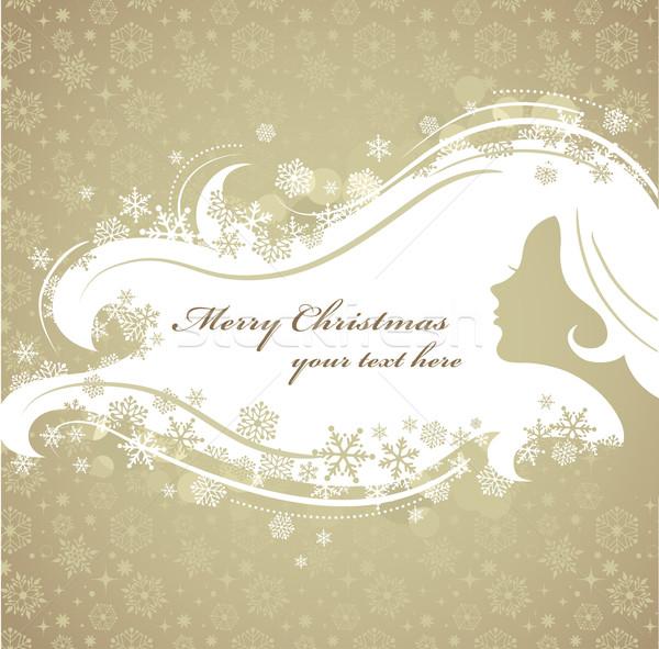 Foto stock: Navidad · mujer · silueta · patrón · vector