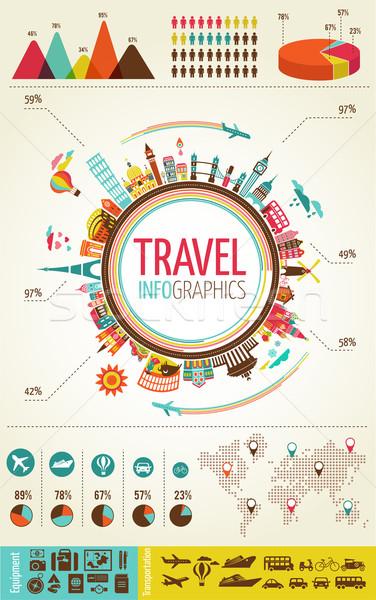 Stockfoto: Reizen · toerisme · infographics · gegevens · iconen · communie