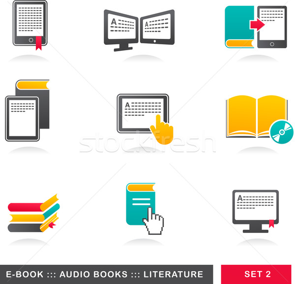 collection of E-book, audiobook and literature icons - 2 Stock photo © marish