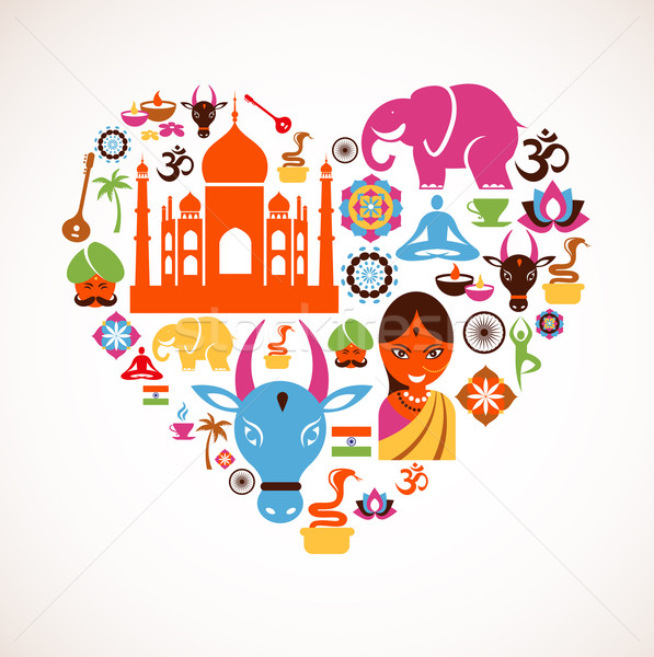 Heart with India vector icons Stock photo © marish