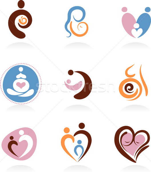 Collection of motherhood icons Stock photo © marish
