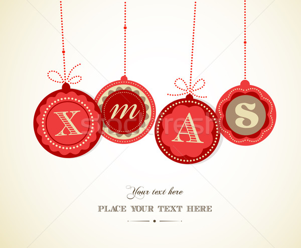 Retro Christmas balls with text space Stock photo © marish