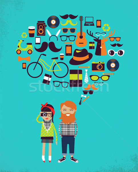 Hipster speech bubble with icons and stylish young couple Stock photo © marish