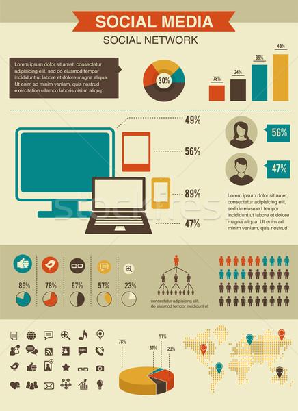 Zdjęcia stock: Infografiki · zestaw · w · stylu · retro · projektu · social · media