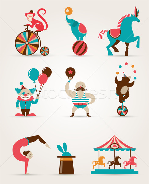 vintage huge circus collection with carnival, fun fair, vector icons and background  Stock photo © marish
