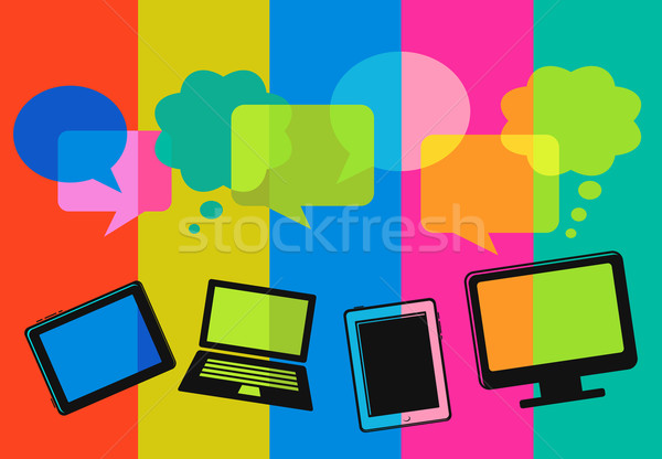 different computer icons with speech bubbles Stock photo © marish