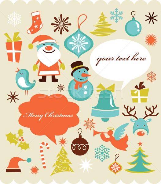 Foto stock: Retro · Navidad · colección · iconos · establecer · estilo · retro