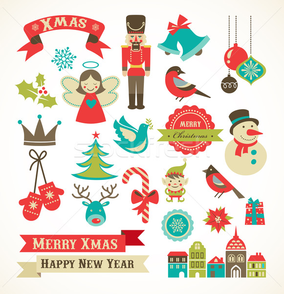 Christmas retro icons, elements and illustrations Stock photo © marish