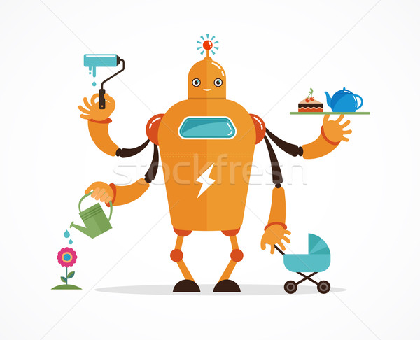 Stock photo: Multitasking robot character