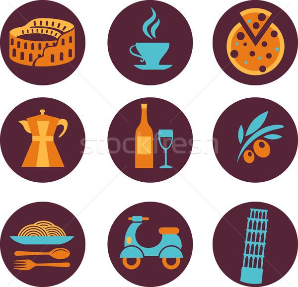 Ayarlamak İtalya vektör simgeler toplama restoran Stok fotoğraf © marish