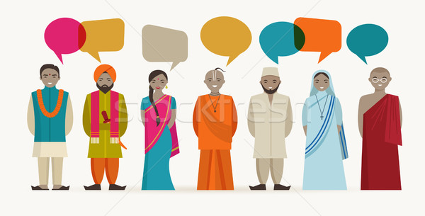 Indian people talk - different indian religious Stock photo © marish