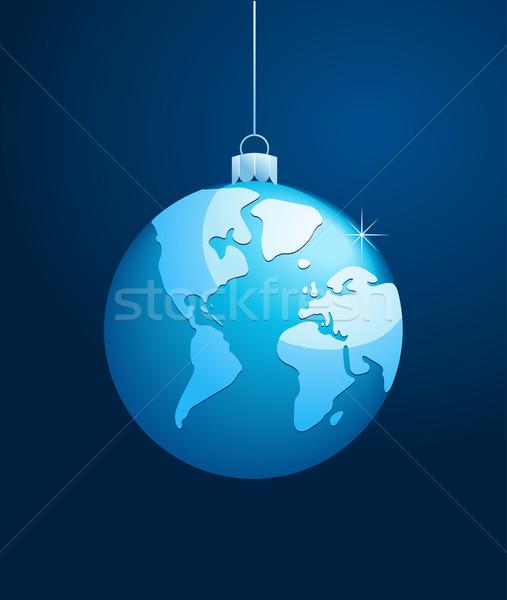 ストックフォト: 世界 · クリスマス · ボール · ベクトル · 青 · ビジネス