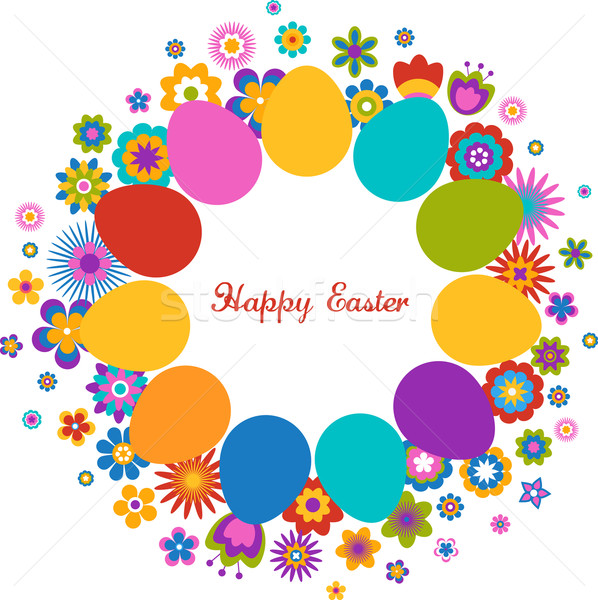 Easter greeting card with egg and flowered pattern Stock photo © marish