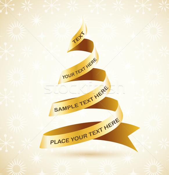 Elegante dorado árbol de navidad luces pelota estrellas Foto stock © marish
