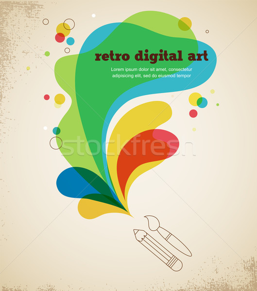 digital art poster with splash color Stock photo © marish