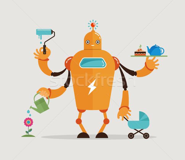 Multitasking robot character  Stock photo © marish