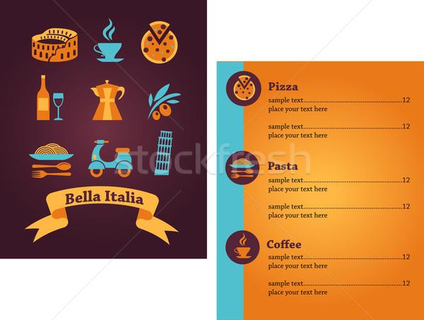 Ristorante italiano menu modello di progettazione disegni italiana vettore Foto d'archivio © marish