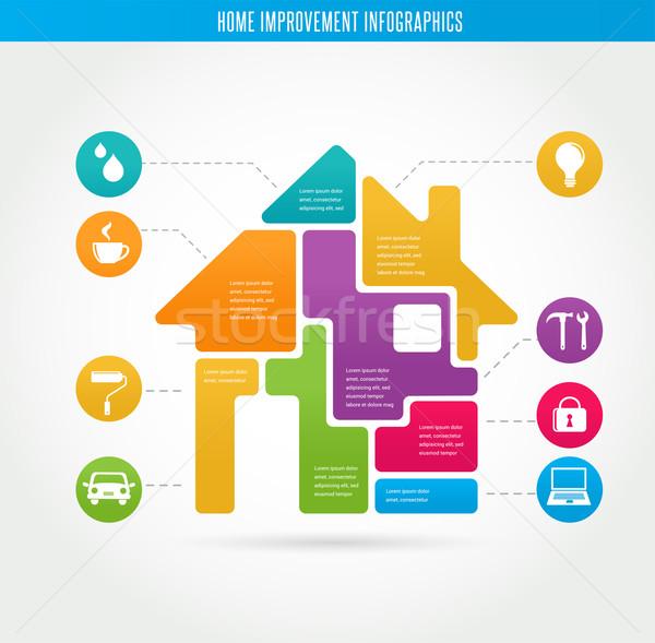 home infografiken smart haus geb ude vektor. Black Bedroom Furniture Sets. Home Design Ideas