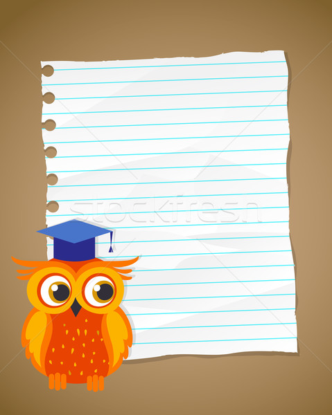 Back to school on wrinkled lined paper and owl Stock photo © marish