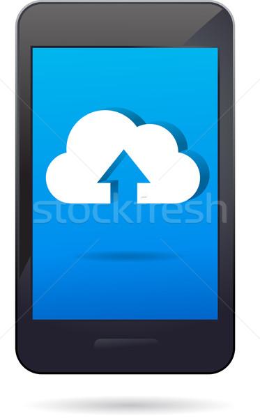Chmura app ikona telefonu komórkowego komórkowych smartphone Zdjęcia stock © marish