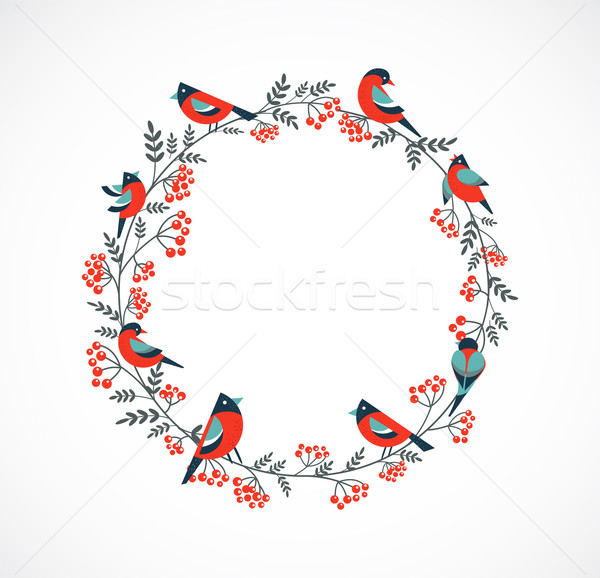 Christmas wreath with birds and ashberry Stock photo © marish
