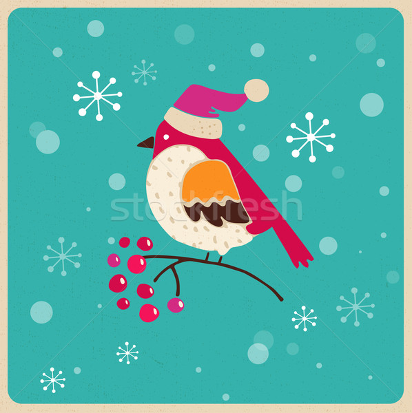 Christmas tree with bird, Greeting card Stock photo © marish