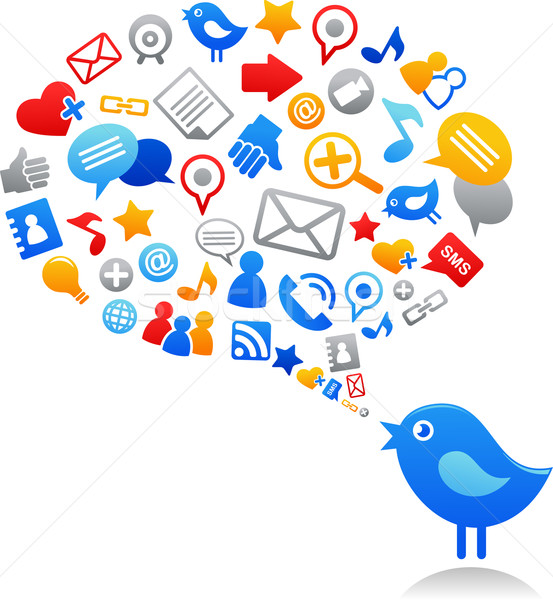 Blauw vogel social media iconen contact netwerk Stockfoto © marish