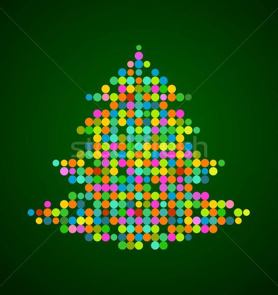 Xmas background with pixel Christmas tree Stock photo © marish