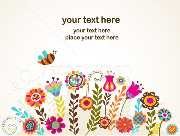 Stock photo: greeting card with flowers