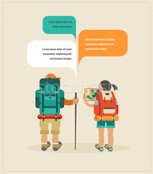 Vector vintage poster with couple of backpackers and speech bubbles  Stock photo © marish