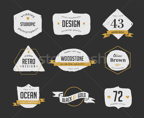 hand drawn, inked hipster vintage retro labels and logo Stock photo © marish