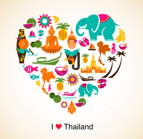 Thailand love - heart with thai icons and symbols Stock photo © marish