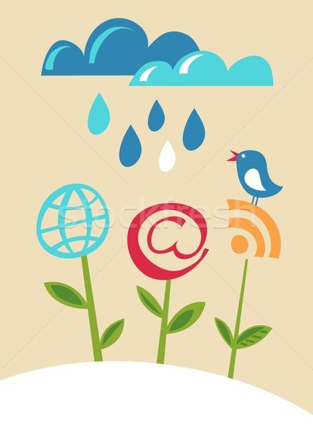 Internet pictogrammen bloemen Blauw vogel vector afbeelding Stockfoto © marish
