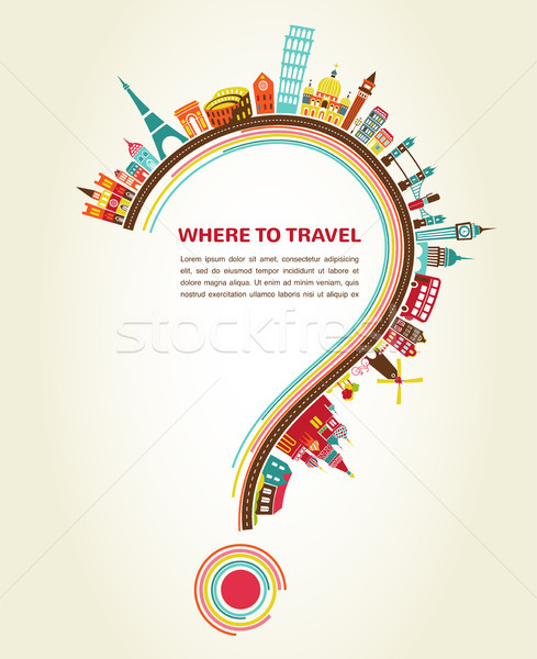 Stock photo: Where to Travel, question mark with tourism icons and elements