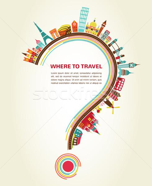 ストックフォト: 旅行 · 疑問符 · 観光 · アイコン · 要素 · ビジネス