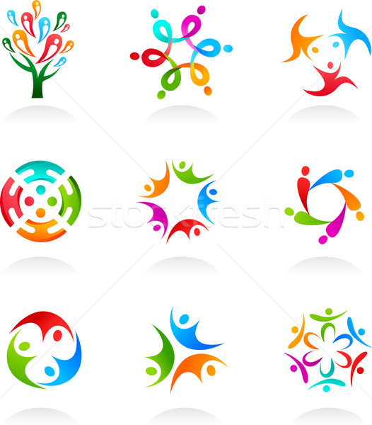Collection of social media and network icons Stock photo © marish