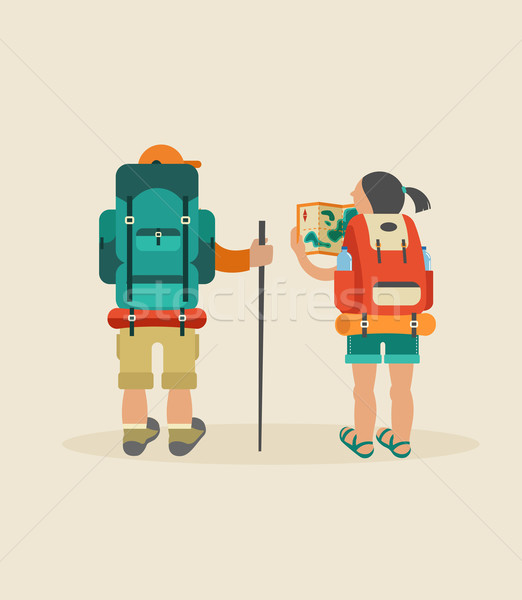 Vector vintage poster with couple of backpackers Stock photo © marish