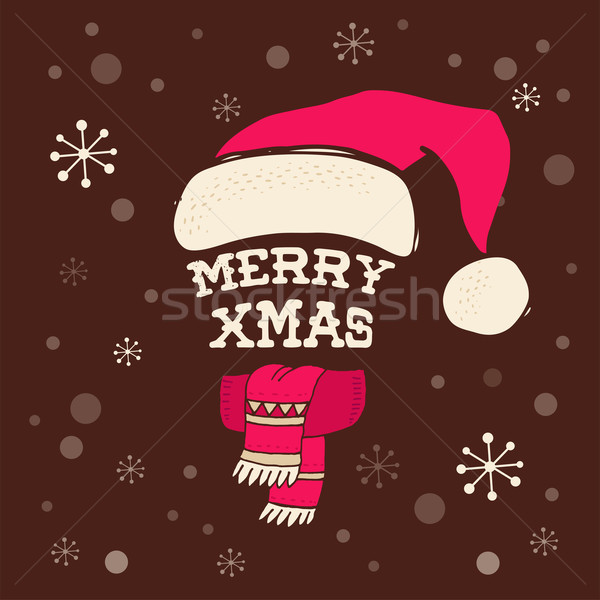 Stock fotó: Vidám · karácsony · kötött · kalap · mikulás · üdvözlőlap